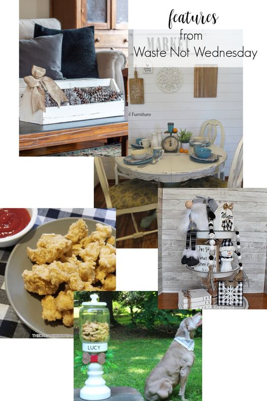 A collage with a chicken recipe, table makeover, DIY tiered tray and a Vintage tray for home decor.