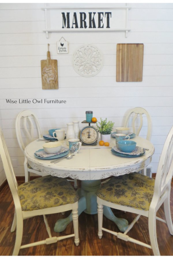 A dining set makeover with a large painted oak table with four country chairs.