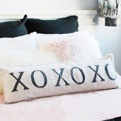 DIY Farmhouse XO Pillow for the Bedroom or Valentine's Day