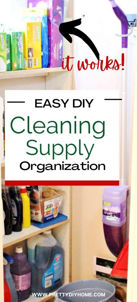 A collage of various cleaning supply storage ideas in a small closet, with cleaners, buckets, vacuum mops all organized in a well lit tiny closet.