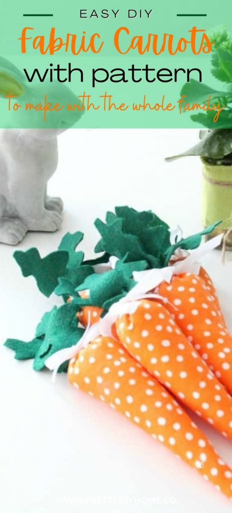 Fabric Carrots in a bundle with polka dot orange fabric and felt leaves.