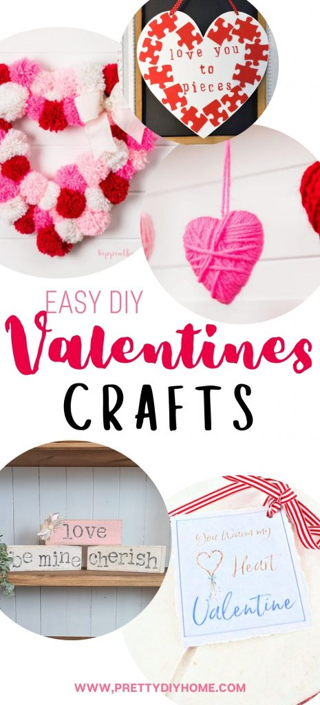A collection of pretty Valentine craft ideas, Valentine wreath, Valentine heating pad, Valentine wood blocks, Valentine wall art in pinks, reds, whites and neutral colours.