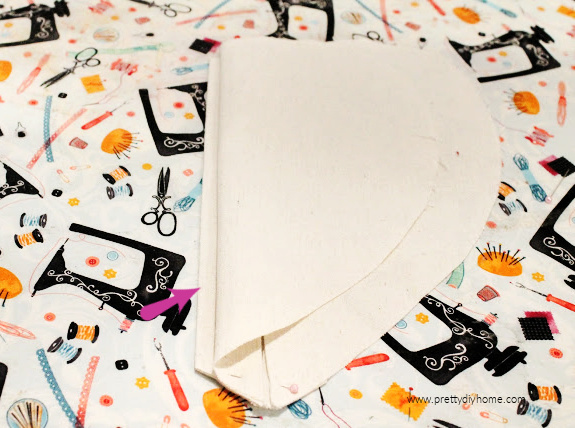 Sewing a pleat on the front of a DIY heart shaped Valentine heating pad