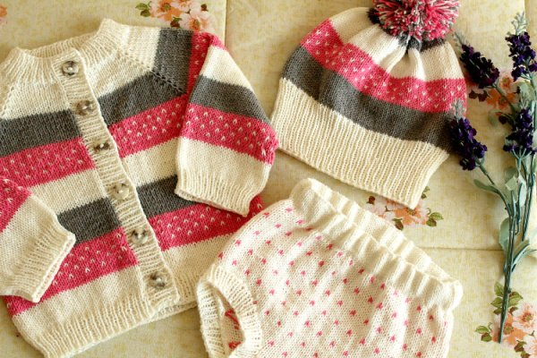 Handmade knitted baby set in pink brown and cream