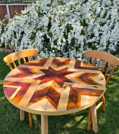 handmade barn quilt table in varying stains