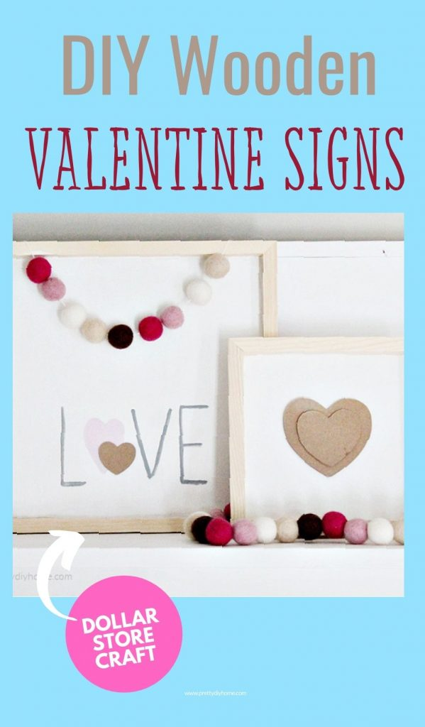 Two farmhouse DIY Wooden Valentine signs made with paint and a free pattern. One sign says love and the second sign is smaller with a neutral beige valentine center.