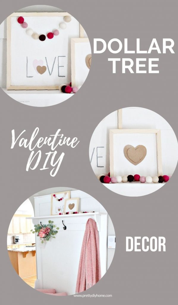 Three different wooden farmhouse Dollar Tree valentine decor wooden signs one says love and the other Valentine signs has a simple beige valentine center with white background and natural wood framing.