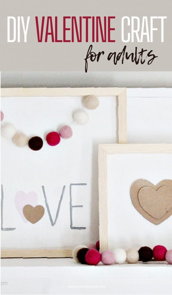 An easy wooden farmhouse sign DIY Valentine Craft for adults, one sign says love and the second smaller Valentine sign has a white background with simply beige heart shape in the middle.