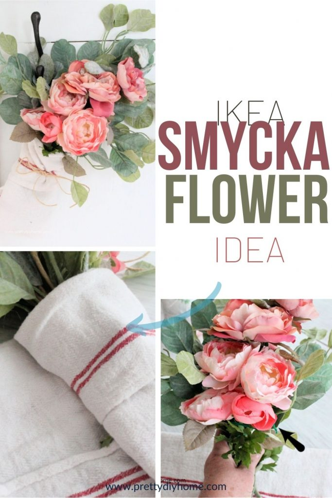IKEA Smycka flowers arranged and hung inside a pretty farmhouse wrapper with a twine bow.