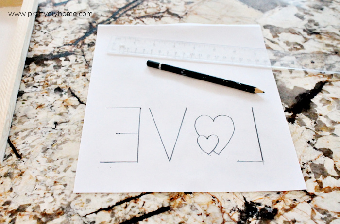 Free downloadable LOVE word pattern for making a sign.