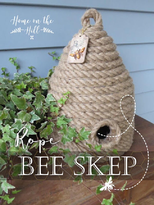 A homemade bee skept with pretty greenery.