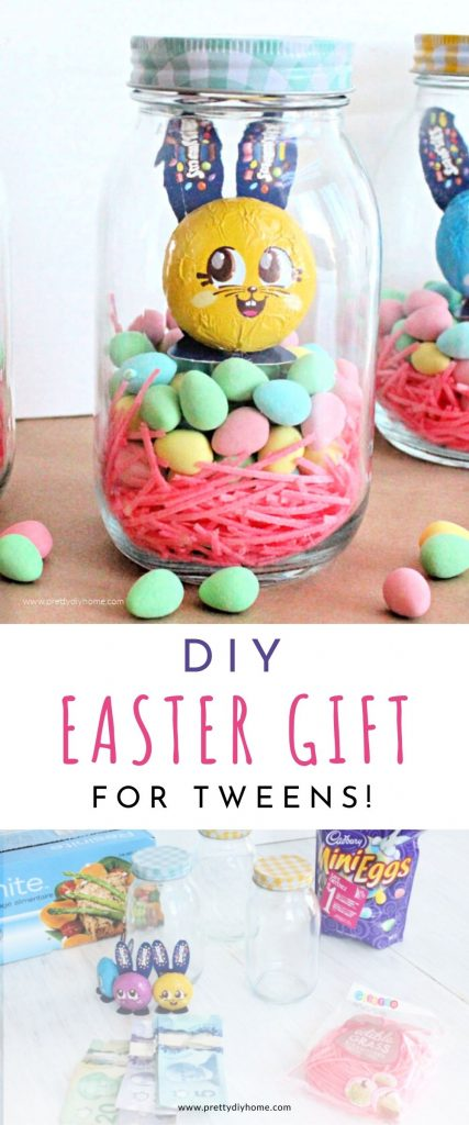 An Easter mason jar filled with chocolate Easter eggs, edible Easter grass and a chocolate Easter bunny in layers. There is a cash gift hidden inside.