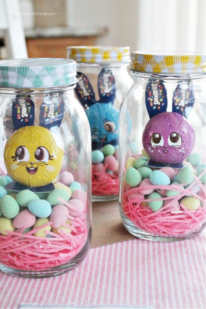 Three DIY Easter gifts for older kids that contains hidden cash and layers of cheerfully coloured candy.