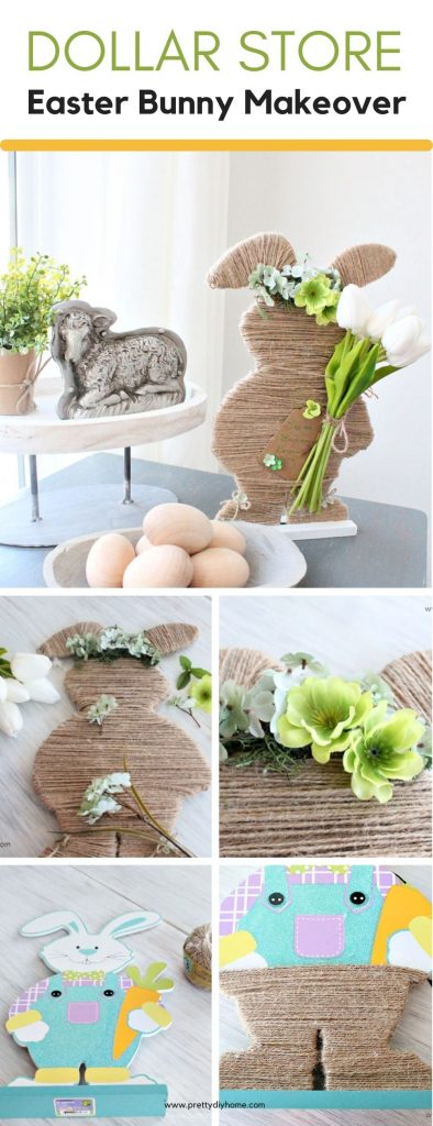A collage of steps needed to make a Easter Bunny using faux flowers, twine, and a wooden dollar store bunny.