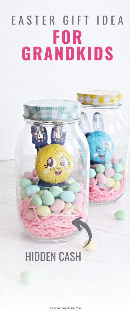 Two mason jars filled with Easter candy in pretty bright colours, with a caption that says Easter Gift Idea for Grandkids