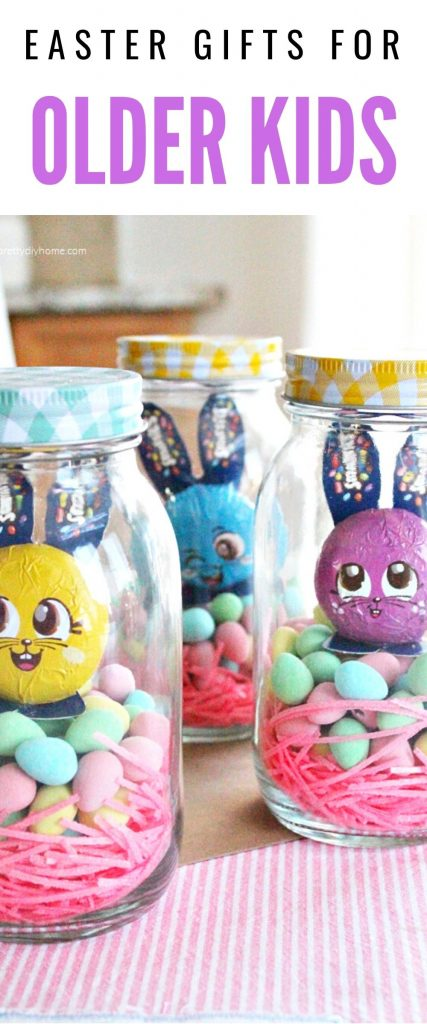 A mason jar filled with Easter candy and cash as a simple Easter gift idea for older kids.