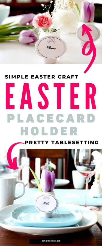 An Easter Tablescape place holder with a blush painted miniature clay pot holds a real Easter Egg cut open to act like a vase for flowers.