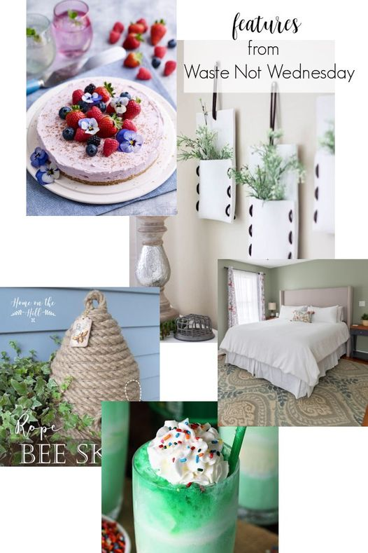 A collage of featured posts from WNW including a cheesecake, shamrockshake, DIY Bee skep craft, wall hangers and headboard