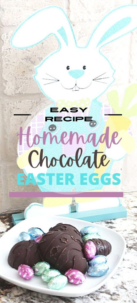 Homemade chocolate easter eggs, large with peanut butter filling, and coconut cream filling. The dark chocolate Easter eggs are surrounded by pretty foil covered miniature Easter eggs.