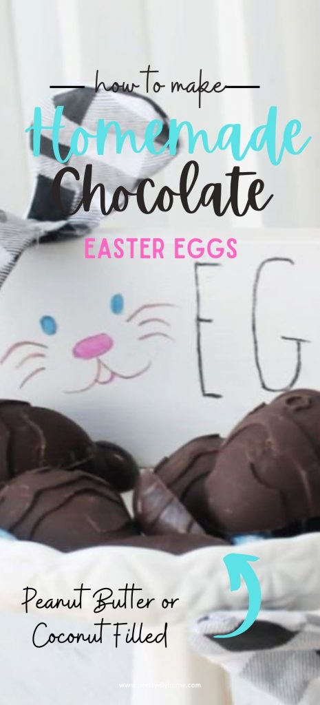 Homemade chocolate covered Easter eggs some with peanut butter filling, others with coconut filling. The Easter eggs are large with dark chocolate on a white pedestal plate and surrounded by lots of brightly coloured foil Easter Eggs.