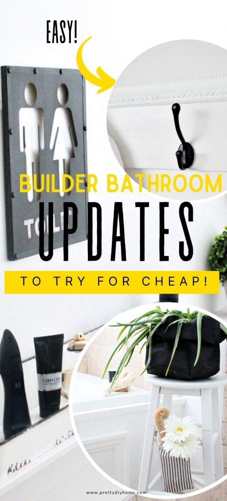 A collage of updates for a builder grade bathroom. The upgrades are in a farmhouse style including a new faucet, farmhouse shelves, grainsack bag, and chicken feeder organizer.