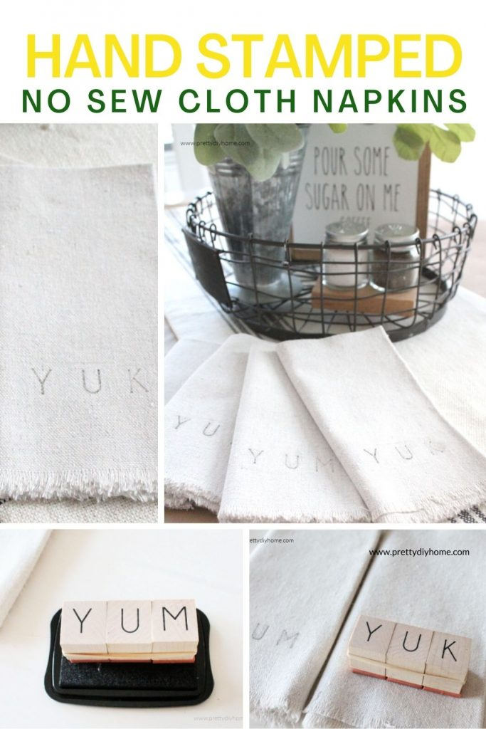A collage of four images showing how to make DIY no sew hand stamped cloth napkins. One shows the fabric being stamped, another shows placing ink on the letter stamps, and a final picture showing the hand stamped napkins in a cottage style centerpiece for the table.