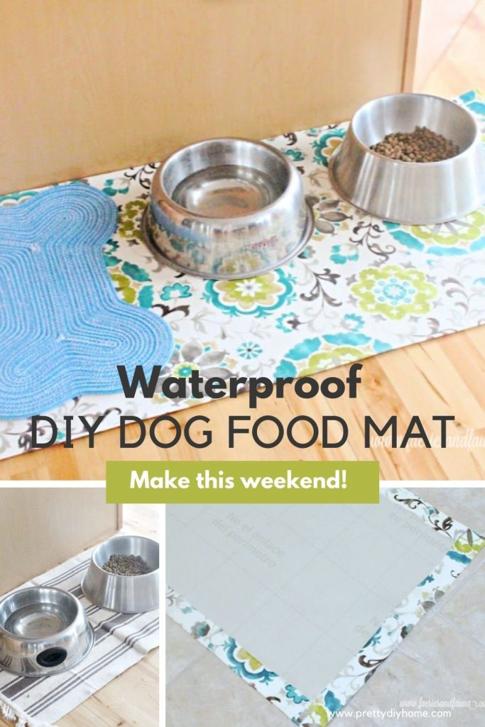 A very large DIY placemet for dogs with pretty pattern in bright blue and greens. There is two very large dog bowls and a smaller dog bone mat for snacks.