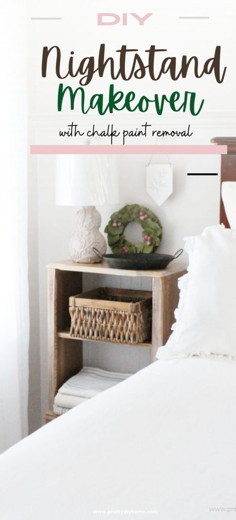 A farmhouse style bedroom with white linens and a DIY bleached wood nightstand makeover sitting beside the bed.