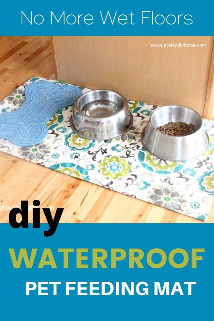 A large dog feeding area with waterproof DIY placemat to protect wood floors. The mat is bright green and blue, and there are two very large pet bowls on top.