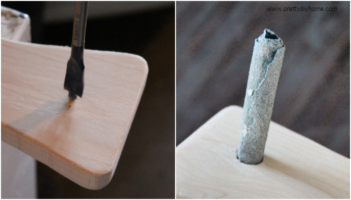A collage showing drilling and then sanding a hole in the handle of a homemade charcuterie board idea.