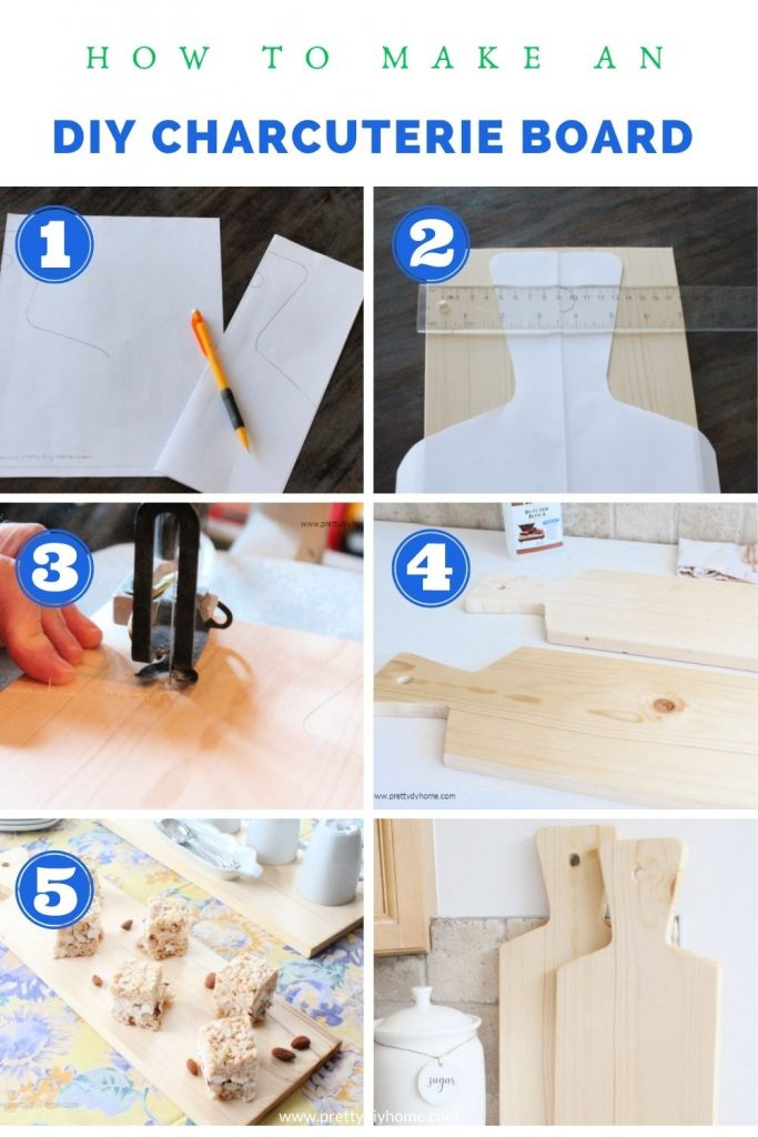 A collage of steps needed for making a wood charcuterie board including printing a pattern, cutting the wood out, sanding and finishing with butcher block food safe oil.