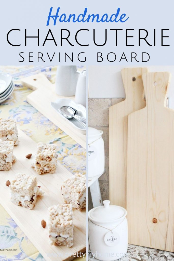 A collage of two charcuterie boards, one shows the charcuterie board serving desserts and another one using them for a decor backdrop in the kitchen.