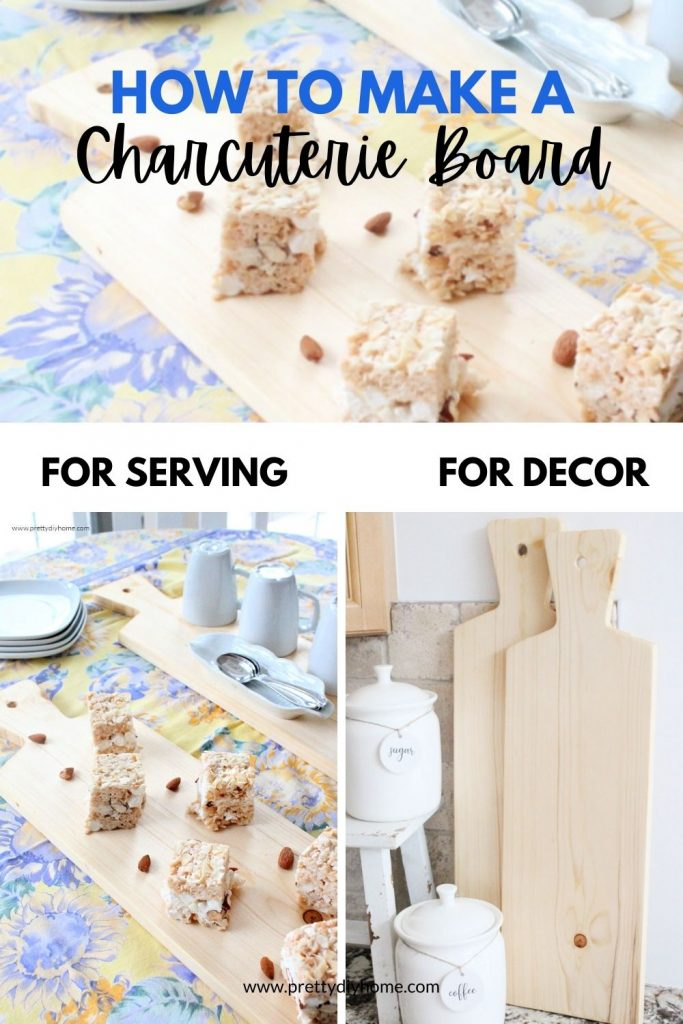How to make a charcuterie board with two examples, one shows a charcuterie board serving desserts, the second picture shows a charcuterie board as a backdrop on a kitchen vignette, Both charcuterie boards are made using light birch wood.
