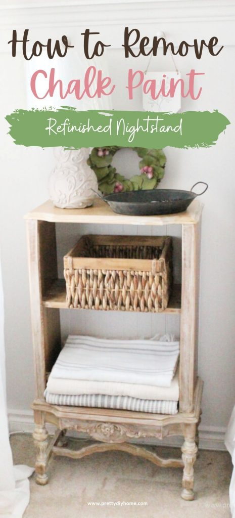 A bleached wood nightstand makeover with touches of white wash paint. The nightstand