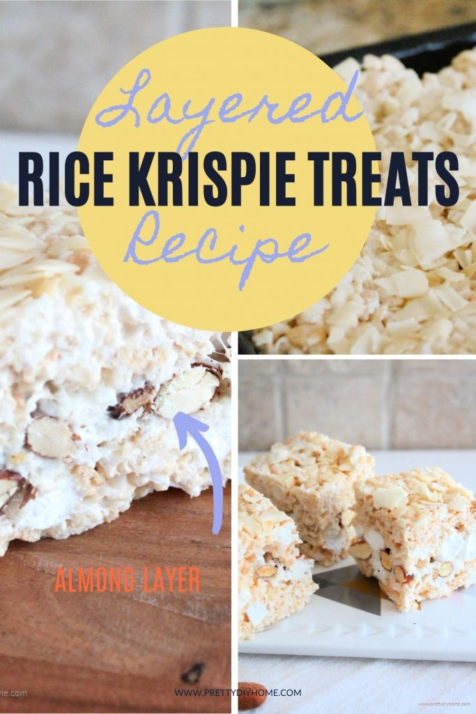 A collage of image showing layered rice krispie treat recipe with almonds and coconut. One picture show a cut piece with the layers showing, a second picture shows a large pan of squares and the third
