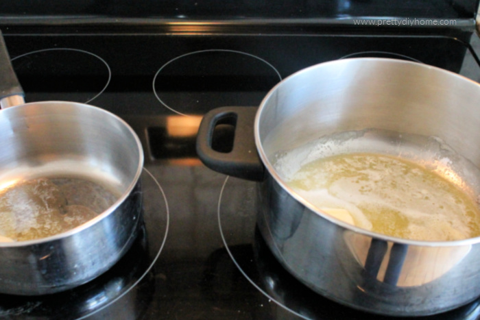 Butter being melted in two different saucepans.