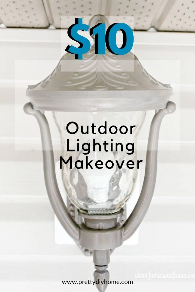 A bronze spray painted outdoor light fixture that looks new, It has received a outdoor light make over after being cleaned and painted.
