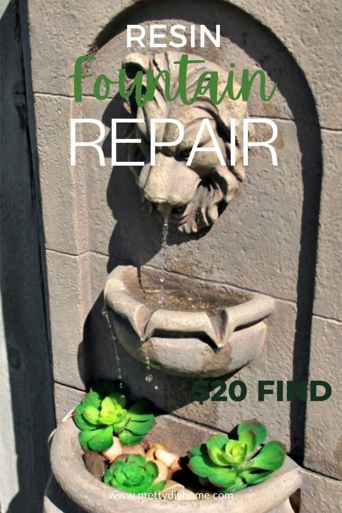 A resin fountain repair tutorial, the resin pump is working with a lion head spouting the water into a little basin full of succulents.