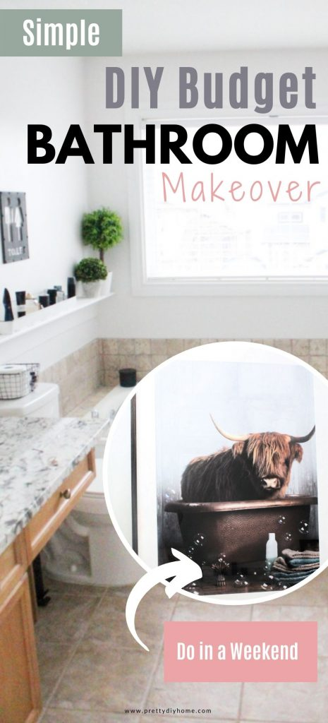 A farmhouse bathroom collage showing the entire builder grade bathroom makeover. Then their is a featured pictures of a highland cow artwork.