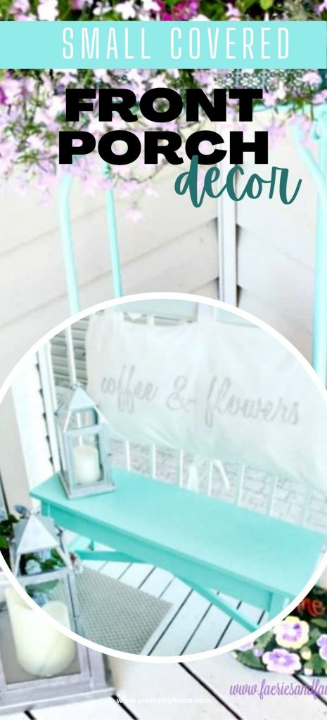 An aqua DIY wooden bench with a pretty handemade cushion back that says coffee and flowers. The setting is surrounded with summer flower pots, lots of flowers and baskets.