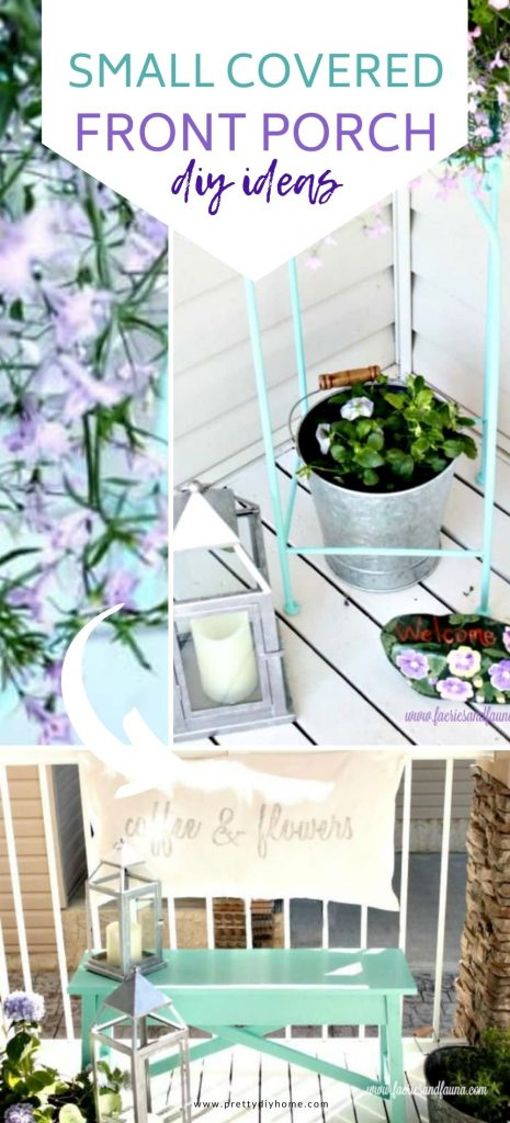 A collection of DIY small covered front porch ideas including a DIY wooden bench painted aqua blue, upcycled lanterns, a handmade cushion tied to the rail and lots of buckets of flowers for a pretty outdoor sitting area.