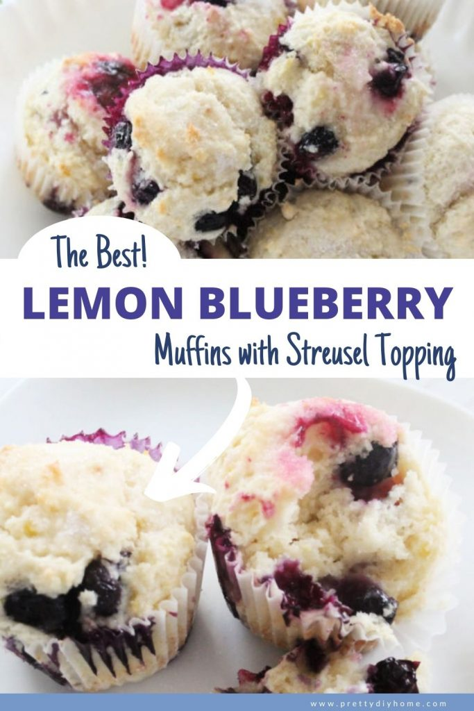 Light and airy lemon blueberry muffins in white paper baking cups with loads of blueberries and a light lemon streusel topping.