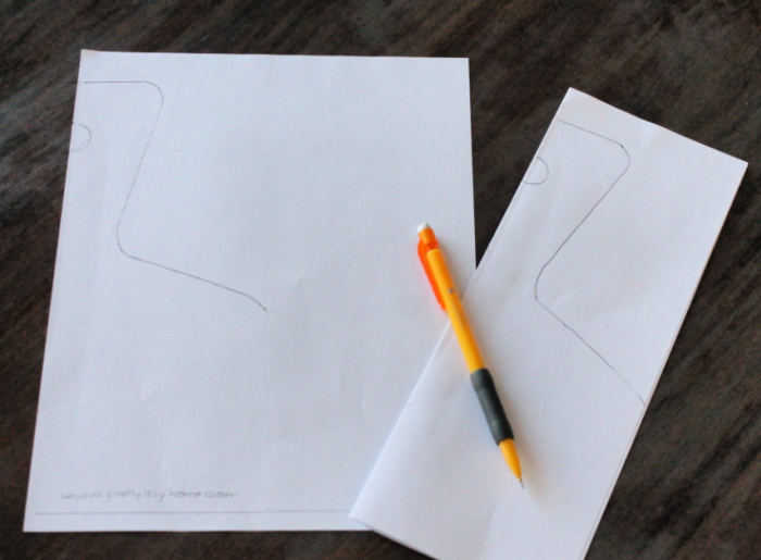 Making a large pattern from a downloadable printable for a charcuterie board handle.