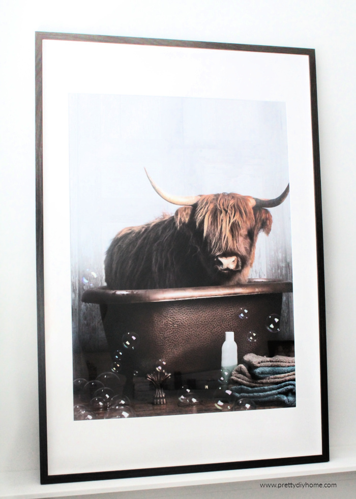 Highland cow artwork for the bathroom. A large poster of a highland cow sitting in the bathtub with lots of bubbles.