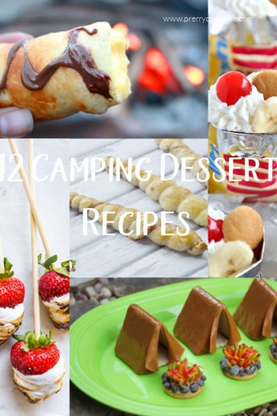 a collage of camping dessert recipes, strawberries with marshmallows, chocolate tents, croissant with chocolate