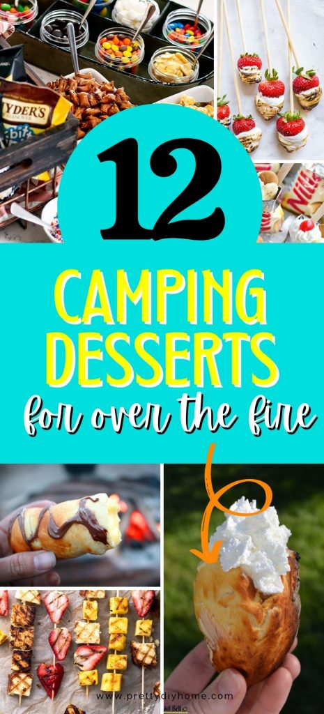 A collage of camping desserts that can be baked over an open campfire.