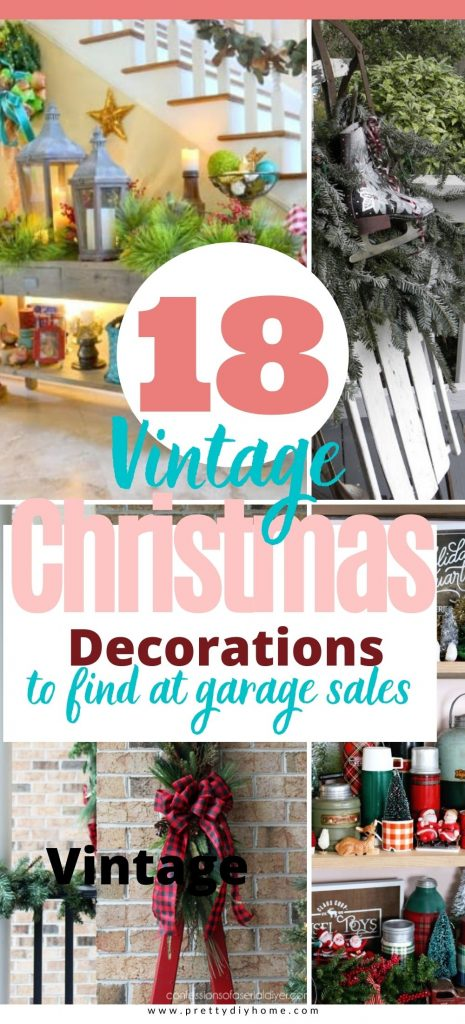 A collection of pretty vintage toys, sleds, skis, snowshoes that have been upcycled into Christmas decorations.