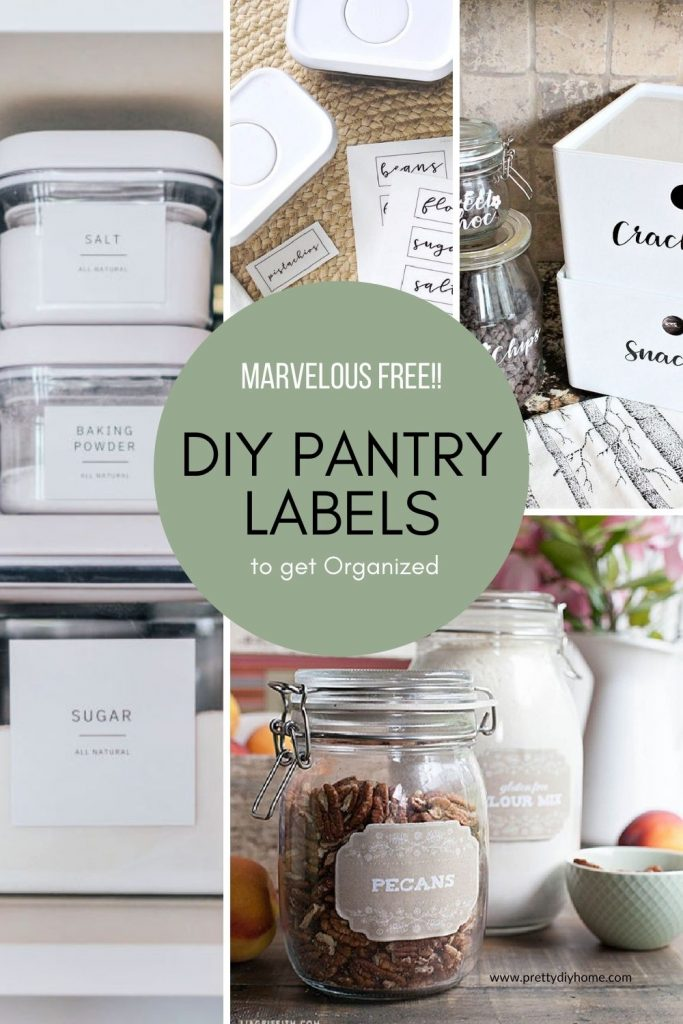 A collage showing different styles of DIY pantry labels on jars, and containers. Lots of variety mostly modern farmhouse styles.
