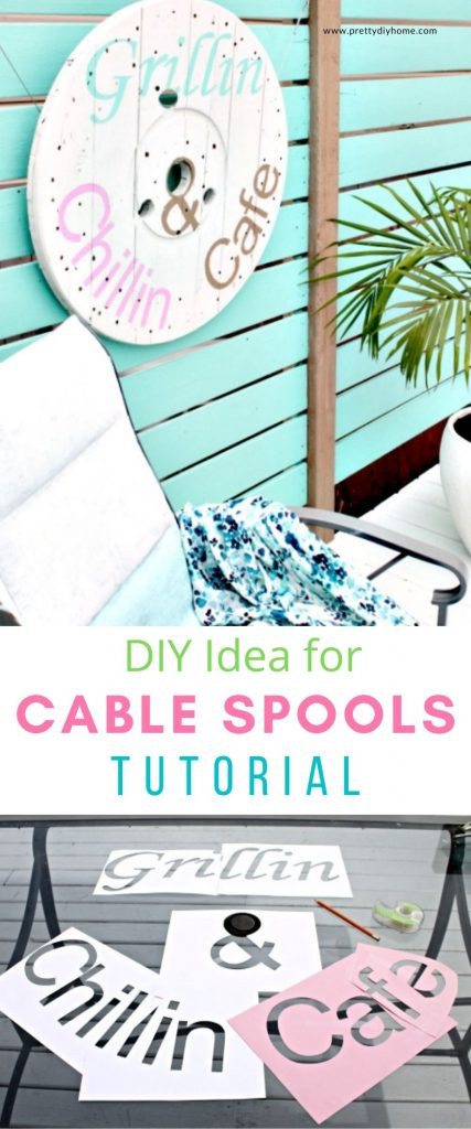 A DIY cable spool wall art idea in white with Grillin and Chillin painted on it. The wall art hangs on a turquoise privacy screen on the back deck. There is a pretty ombre blue chair sitting in front of the sign.