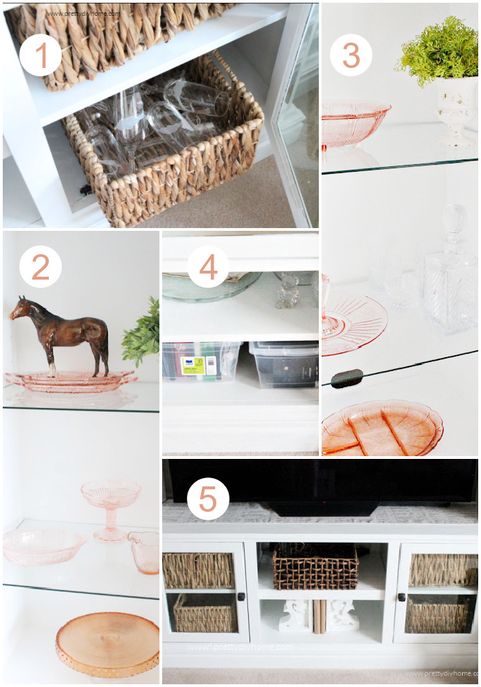 Different ways to store items and hide items in an entertainment center, including colour coordination, matching baskets and plastic containers behind closed doors.